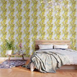 Godlen wattle flower watercolor Wallpaper