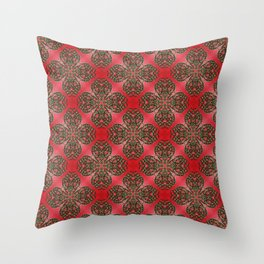 Red Green and Gold Beadwork Inspired Print Throw Pillow