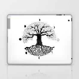black and white tree of life with moon phases and celtic trinity knot II Laptop & iPad Skin
