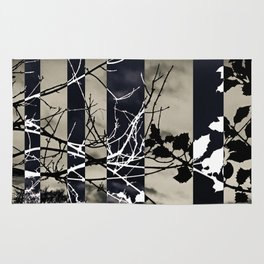 Monochrome abstract landscape striped holly tree sunset Rug