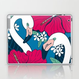 Flamingos and tropical flowers and leaves Laptop & iPad Skin
