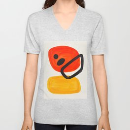 Colorful Mid Century Modern Abstract Fun Shapes Patterns Space Age Orange Yellow Orbit Bubbles Unisex V-Neck