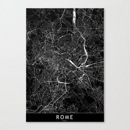 Rome Black Map Canvas Print