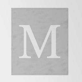 Silver Gray Basic Monogram M Throw Blanket