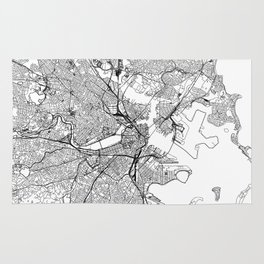Boston White Map Rug
