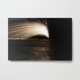 Silhouette Man - Light Trace Metal Print