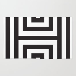 Black Greek Stripes Rug