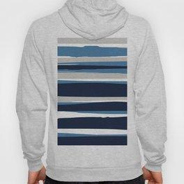 Striped Modern Beach Landscape Blue Grey Hoody