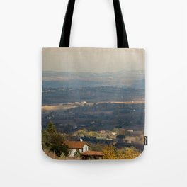 Sunset Italian countryside landscape view Tote Bag