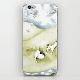 Dog sheep original art Jack Russell Terrier painting landscape iPhone Skin