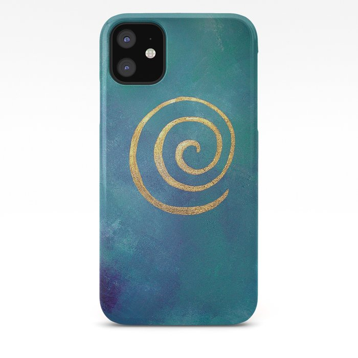 Philip Bowman Infinity Bright Blue And Gold Abstract Modern Art Painting iPhone Case
