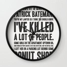 American Psycho - Patrick Bateman's Confession Wall Clock