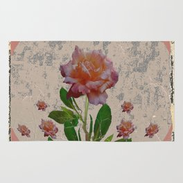 SHABBY CHIC CORAL ANTIQUE PINK ROSES Rug