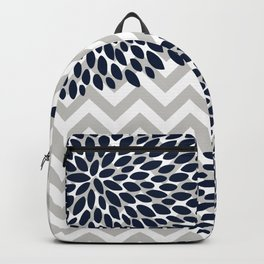 Chevron Floral Modern Navy and Grey Backpack