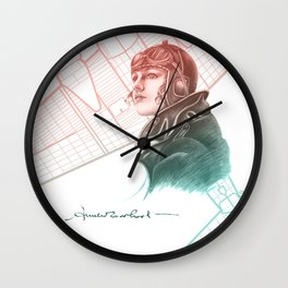 Amelia Earhart Courageous Adventurer Wall Clock