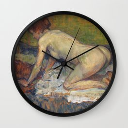 """Henri de Toulouse-Lautrec """"Crouching Woman with Red Hair"""" Wall Clock"""