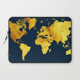 Royal Blue and Gold Map of The World - World Map for your walls Laptop Sleeve