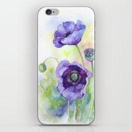 Watercolor blue poppy flowers iPhone Skin