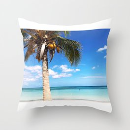 Pardise beach palm Throw Pillow