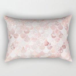 Mermaid Scales Pattern, Blush Pink and Rose Gold Rectangular Pillow