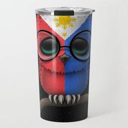 Baby Owl with Glasses and Filipino Flag Travel Mug