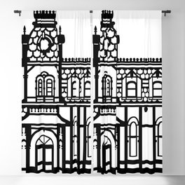 Old Victorian House - black & white Blackout Curtain