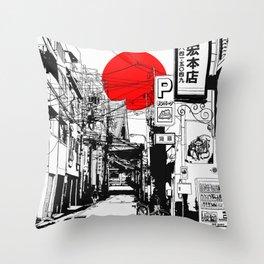 Tokyo street sunrise Throw Pillow