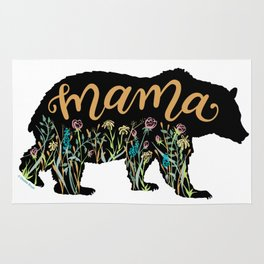 Mama Bear with Pretty Wildflowers Hand Lettering Illustration Rug