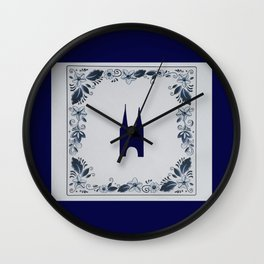 Delft blue tile Eastern Gate in Delft Wall Clock