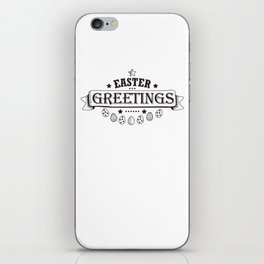 Easter Greetings Black Style Design Funny Easter Outfit iPhone Skin