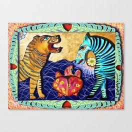 The Tiger the Zebra and the Turtle. Canvas Print