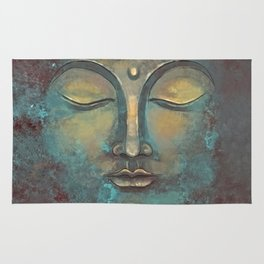 Rusty Golden Copper Buddha Face Watercolor Painting Rug