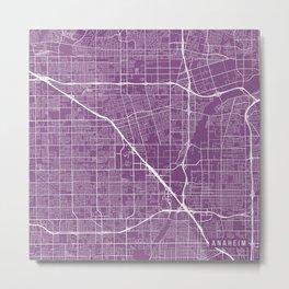 Anaheim Map, USA - Purple Metal Print