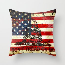 Don't Tread on Me - American Flag And Gadsden Flag Composition Throw Pillow