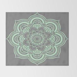 Mandala Flower Gray & Mint Throw Blanket