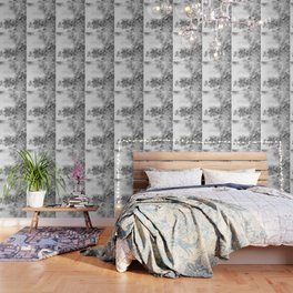 CHERRY BLOSSOMS GRAY AND WHITE Wallpaper
