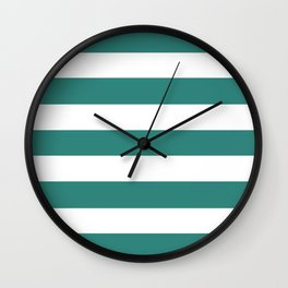 Celadon green - solid color - white stripes pattern Wall Clock