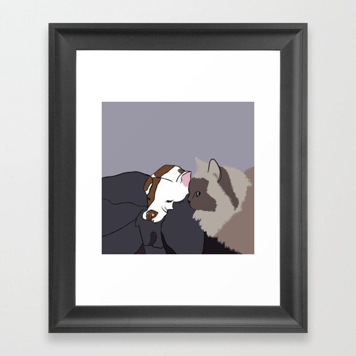 A Pit Bull and Her Kitty Framed Art Print