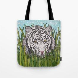 White tiger in wild grass Tote Bag
