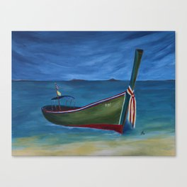 Green Longtail Boat Canvas Print