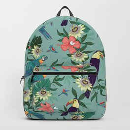 Toucans and Parrots in the Passion Flowers Backpack