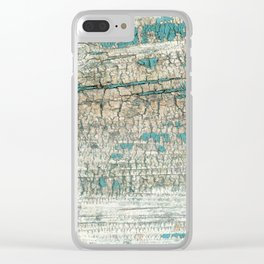 Rustic Wood Turquoise Weathered Paint Wood Grain Clear iPhone Case