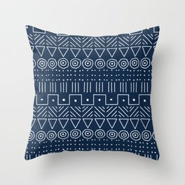 Mudcloth Style 1 in Navy Throw Pillow