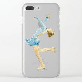 Girl in blue dress. Figure skater. Clear iPhone Case