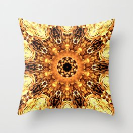 Yellow Brown Mandala Abstract Flower Throw Pillow
