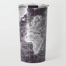 Vintage Map of The World (1833) Purple & White  Travel Mug