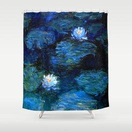 monet water lilies 1899 Blue teal Shower Curtain