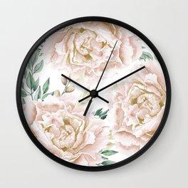 Pretty Blush Pink Roses Flower Garden Wall Clock