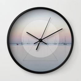 Calm Sea Sail Boats Geometric Nature Art Wall Clock