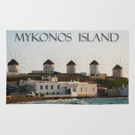 Picturesque Windmills on Mykonos Island Greece Rug